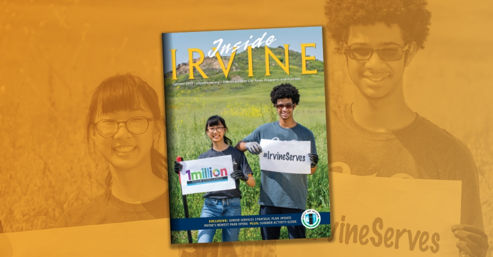 Inside Irvine magazine cover showing boy and girl volunteering